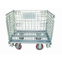 China Zinc Finish Rigid Rolling Wire Mesh Cage With Foot Brakes / Castors wholesale