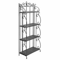 China Folding Black Metal Display Shelf / 4 Tier Storage Organizer Solid Structure wholesale