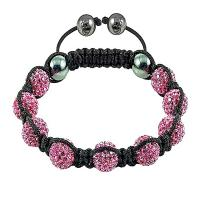 China OEM / ODM Dark Pink Beads With Hematite Black Rope Crystal Bangle Bracelets  wholesale