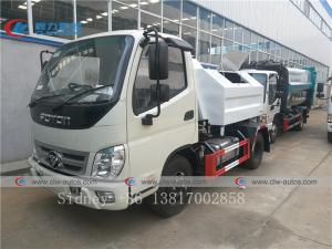 China Foton Mini 3cbm Garbage waste collection truck trash pick up Hook lift Garbage Truck wholesale