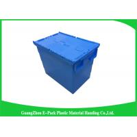 China Heavy Duty Moving Stackable Plastic Tote Boxes With Hinged Lids wholesale