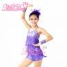 China Biketard Confetti Sequin Fringe Dress Kids Purple Latin Dance Costumes wholesale