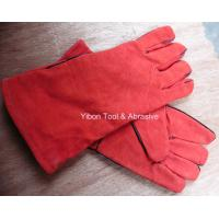 """China 13"""" Red color Leather Welding Gloves wholesale"""