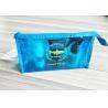 China Bright Blue Waterproof Zipper PVC Cosmetic Bag , Transparent Vinyl Make Up Pouch wholesale
