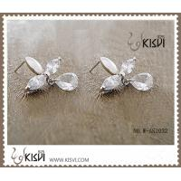 China 100% 925 sterling silver gemstone earrings with white zircon W-AS1032 wholesale