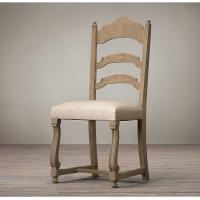 China Vintage French Style Wooden Ladder Back Side Leather Dining Chair 46 * 51 * 103cm wholesale