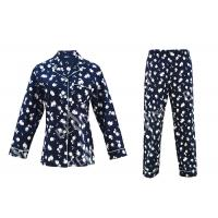 China 100% Cotton Flannel Womens Button Up Pajama Sets With Piping And Long Pants wholesale