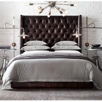 China Comfortable US Style Tufted Platform King Leather Bed with high / low back wholesale