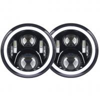 China 7 inch led fog light 70W With Angel eyes high/low Beam Pattern with RGB  Bluetooth controller for Jeep wholesale