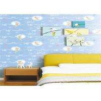 White Cartoon Kids Bedroom Wallpaper Light Blue Embossed Vinyl Wallpaper
