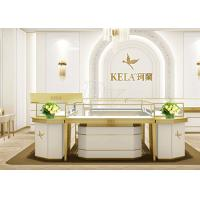China Rectangle Jewelry Showroom Display Cabinets Gold Stainless Steel Wood Material wholesale