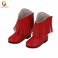China Custom hand-made warm red PU doll shoes Middle boots wholesale