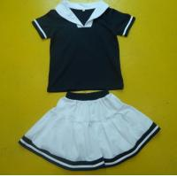 Quality Navy And White Boy And Girl Matching Outfits With Polo Shirt Skirt Pant Customized Size for sale