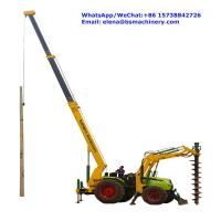 China Integrated Tractor Crane Pole Erection Machine For Cement Poles Pit Digging wholesale