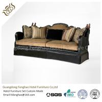 China American Style Brown Leather Hotel Room Sofa Wood Frame With Seat Cushion Upholstered wholesale