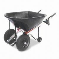 China Heavy-duty Wheelbarrow with 150kg Loading Capacity, Large Plastic Tray and Galvanized Steel Handle wholesale