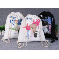 China Promotional Travel Storage Custom Canvas Bags , Drawstring Backpack Bag wholesale