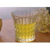 China 200ml 7oz Clear Embossed water tumbler glass for Soft Drink , Dimond Design on sale