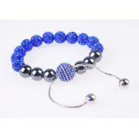 China Succinct and elegant blue and silver beads shamballa crystal beaded bracelets wholesale