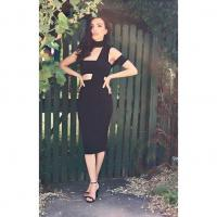 Neck Hanging Strapless Black Dress , Bodycon Bandage Skirt One Shoulder
