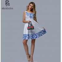 China Short Length Womens Embroidered Floral Dress White Sleeveless Casual Dress wholesale