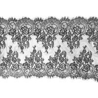 "Buy cheap Black Scalloped Vintage Floral Eyelash Lace Trim Bridal Lace Fabric Nylon 20"" By from wholesalers"