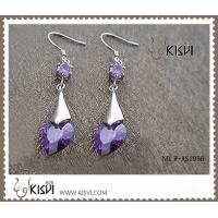 China 925 fashion sterling silver gemstone earrings with long purple zircon W-AS1056 wholesale