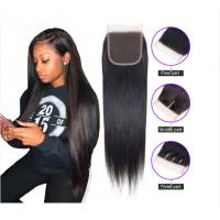 China Brazilian Straight 8 - 20 Inch Virgin Human Hair Extensions Closure 1B wholesale