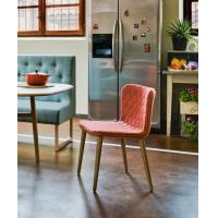 China Wooden Leg Fiberglass Dining Chair Modern Fabric Upholstered Cover 46cm High wholesale