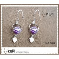 China Purple Zircon 925 Sterling Silver Gemstone Earrings with Zircon W-AS962 wholesale