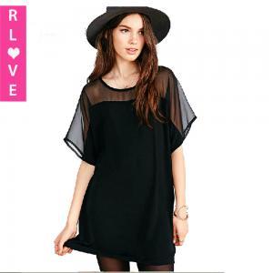 China 2015 new European network yarn stitching loose chiffon dress short-sleeve casual dresses on sale