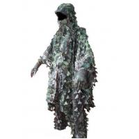 China 3D Leaves Camouflage Ghillie Poncho Camo Cape Cloak Stealth Ghillie Suit Military CS Woodland Hunting Poncho wholesale