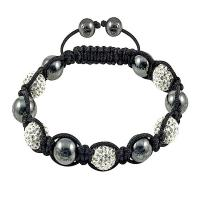 China Hot sale adjustable Fashion White Crystal Shamballa Bangle Bracelets with a poly bag wholesale
