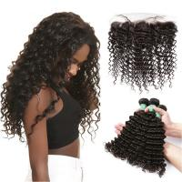 China Smooth Deep Wave Bundles With Lace Frontal 8A Virgin Brazilian Hair / Soft Black Human Hair wholesale