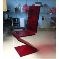 China Dining Room Modern Acrylic Furniture , Z Shape Transparent Red Acrylic Chair wholesale