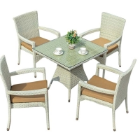 China Weatherproof PE Wicker Washable Seat Cover Outdoor Table Chairs on sale