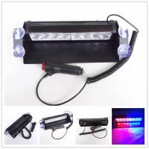 China Red & Blue color Car Police Strobe Flash Light 8 LED 8W Emergency Warning Light 12V Universal wholesale