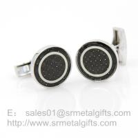 China Novelty cufflinks for men's suit, silver plated cufflinks with round cut stone, in stock, on sale