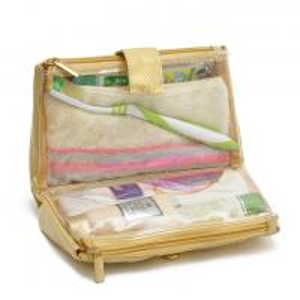 Quality Sliver PVC Women'S Makeup Bag / Makeup Vanity Bag With Button Closure for sale