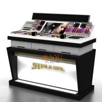 China Wooden Acrylic Makeup Display Stand Countertop Cosmetic OrganizerWith LED wholesale