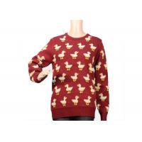China Ladies Crew Neck Red Mohair Sweater Jacquard 9 Gauge Cute Duck Knitted Pattern wholesale
