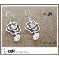 China 925 sterling silver + zircon gemstone earrings with low MOQ wholesale