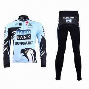 China Cycling Jacket and Pants with Reflective Piping and YKK Zipper wholesale