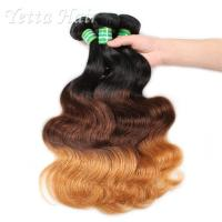 China Three Tone Natural European Remy Hair Extensions Double Drawn Weft wholesale
