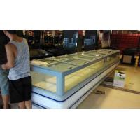 Quality Big Store R404a Supermarket Island Freezer White Color With Curve Glass for sale