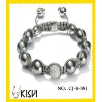 China OEM / ODM Alloy + Crystal 10mm Adjustable Shamballa Crystal Beads Bracelet wholesale