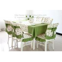 China Brand new green stylish fabric tablecloth and chair cover set for dining room, on sale