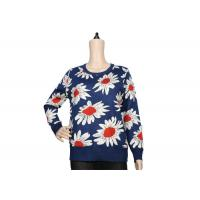 Ladies Navy Blue Womens Knit Sweater Crew Neck Jacquard Pattern For Spring