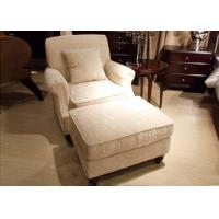 China Transitional Arm Chair And Ottoman , Cream Tan Fabric Lounge Chair for Bedroom on sale