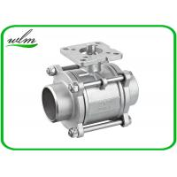 China Three Piece Sanitary Ball Valves Stainless Steel 304 Or 316L With High Mounting Pad wholesale